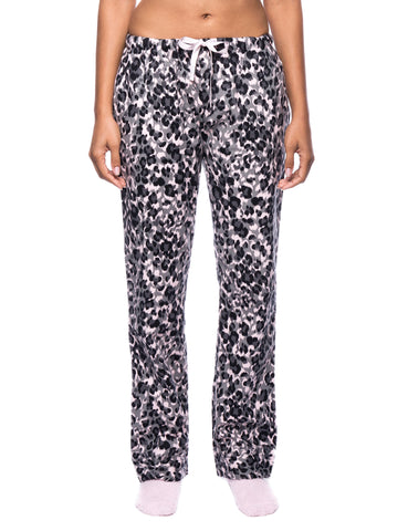 Womens Premium 100% Cotton Flannel Lounge Pants - Leopard Pink/Grey
