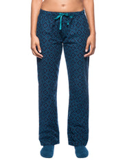 Womens Premium 100% Cotton Flannel Lounge Pants - Moroccan Navy/Teal