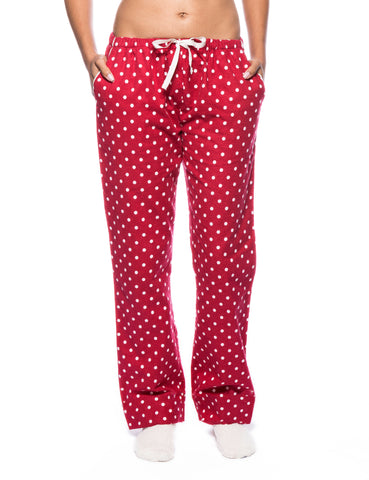 Womens Premium 100% Cotton Flannel Lounge Pants - Dots Diva Red