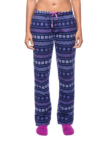 Womens Premium 100% Cotton Flannel Lounge Pants - Nordic Snowflakes Blue