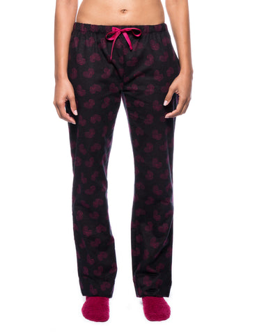 Womens Premium 100% Cotton Flannel Lounge Pants - Hearts Black/Red