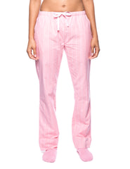 Womens Premium 100% Cotton Flannel Lounge Pants - Stripes Pink