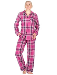 Women's Premium 100% Cotton Flannel Pajama Sleepwear Set (Relaxed Fit) - Plaid - Purple/Pink