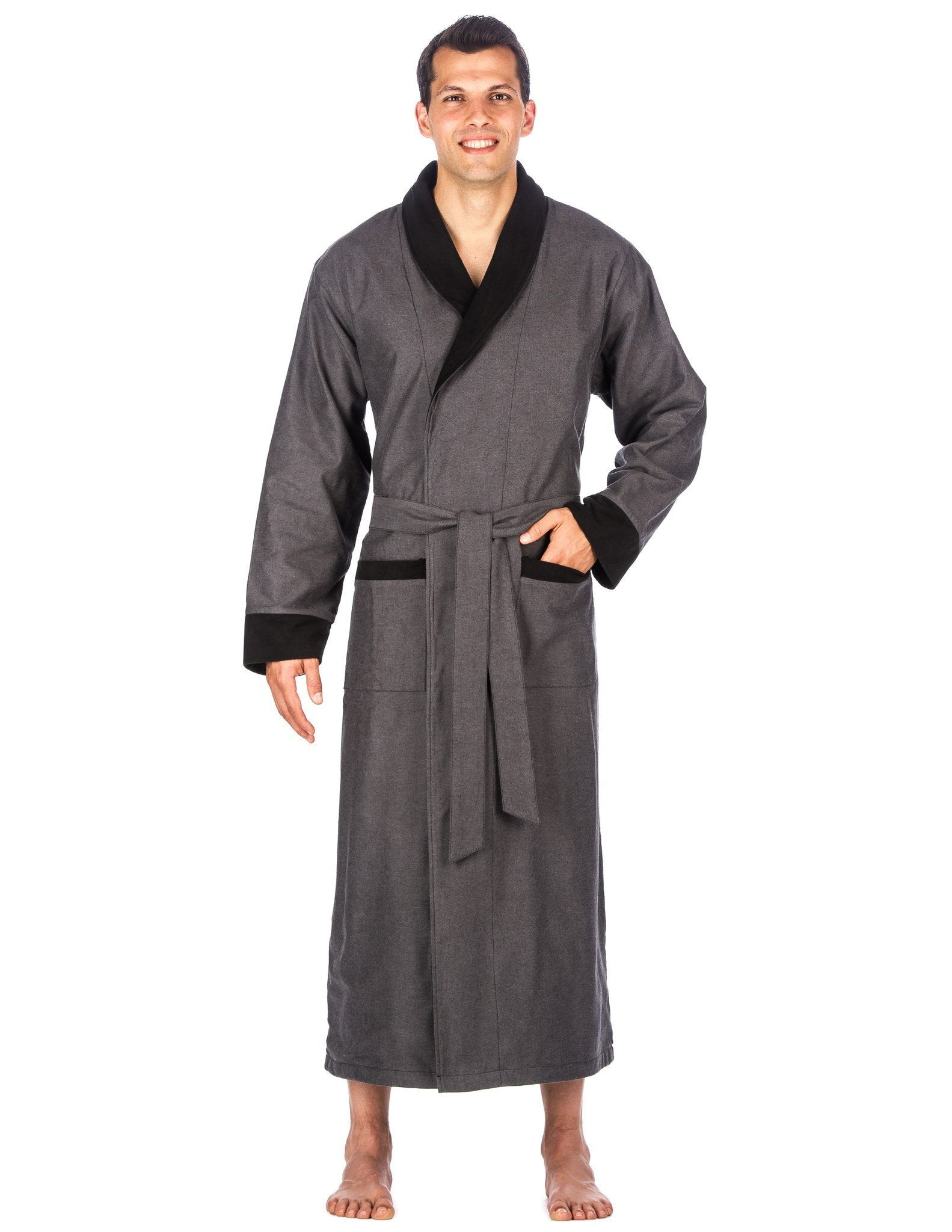 Men's Premium 100% Cotton Flannel Fleece Lined Robe - Dark Grey