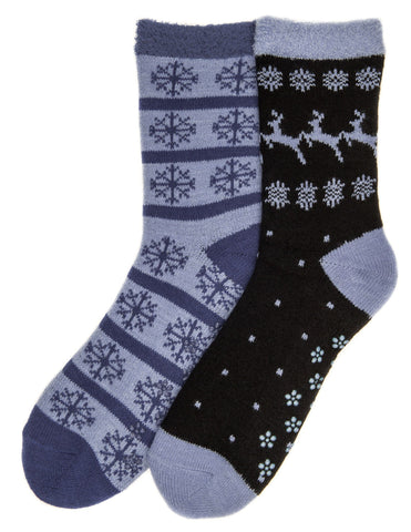Women's Soft Premium Double Layer Winter Crew Socks - 2 Pairs - Set A6