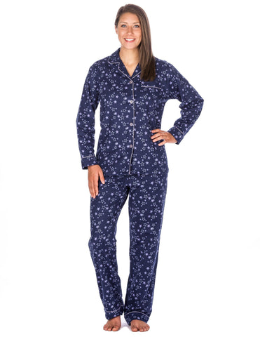 Women's Premium 100% Cotton Flannel Pajama Sleepwear Set (Relaxed Fit) - Starry Night - Blue