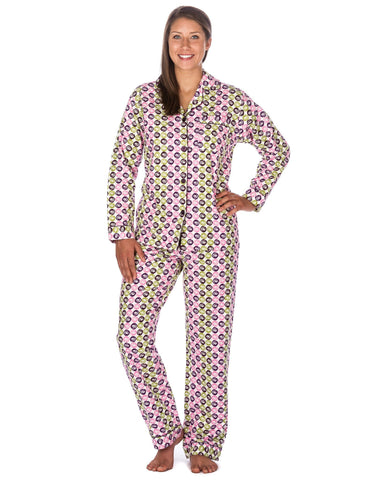 Women's Premium 100% Cotton Flannel Pajama Sleepwear Set (Relaxed Fit) - Swirly Daze - Purple/Green