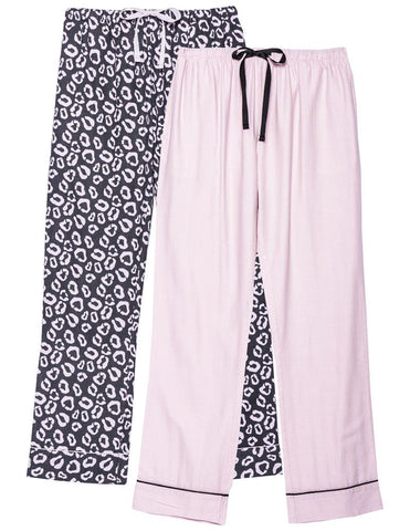 Women's 100% Cotton Flannel Lounge Pants (2-Pack)