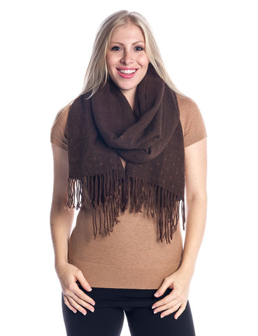 'Toasty' Warm Soft Premium Winter Scarf - Dot Pattern - Chocolate
