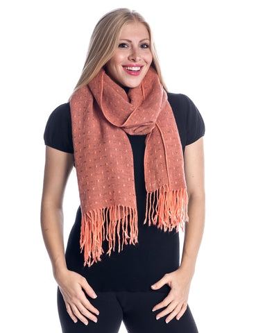 'Toasty' Warm Soft Premium Winter Scarf - Dot Pattern - Coral