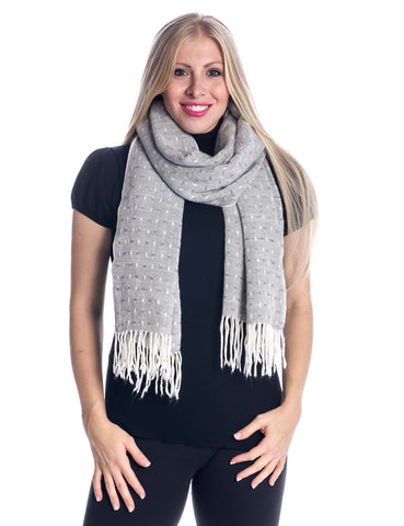'Toasty' Warm Soft Premium Winter Scarf - Dot Pattern - Silver