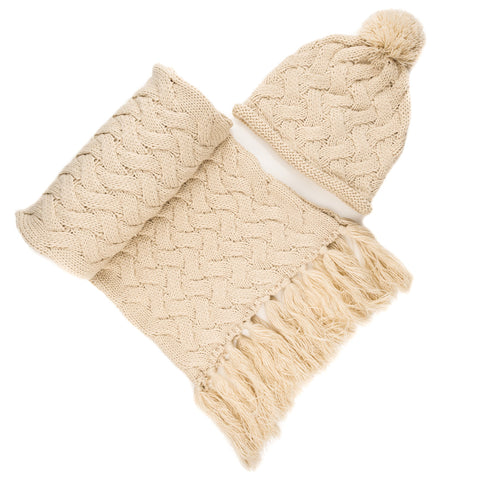 Women's Metro Winter Scarf and Hat Set - Beige