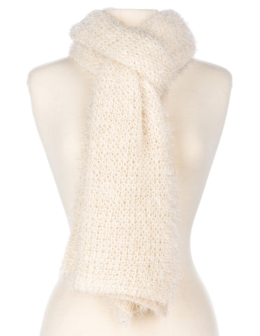 Women's Luxe Feather Winter Scarf and Hat Set - Ivory