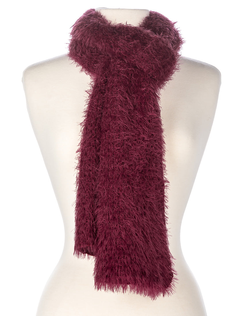 Women's Luxe Feather Winter Scarf and Hat Set - Wine