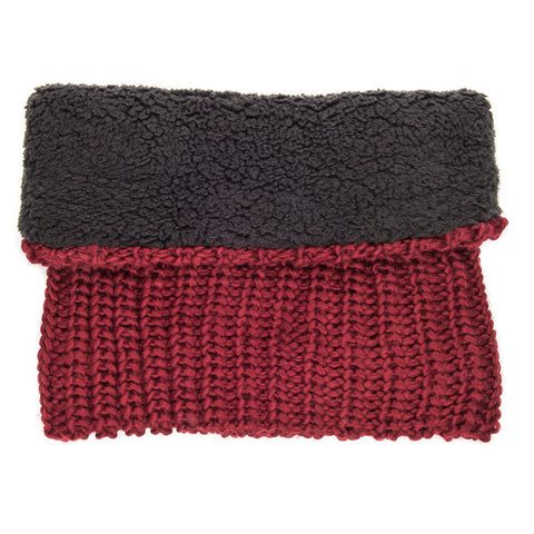 Women's Fleece-Lined Urban Snood Scarf - Burgundy