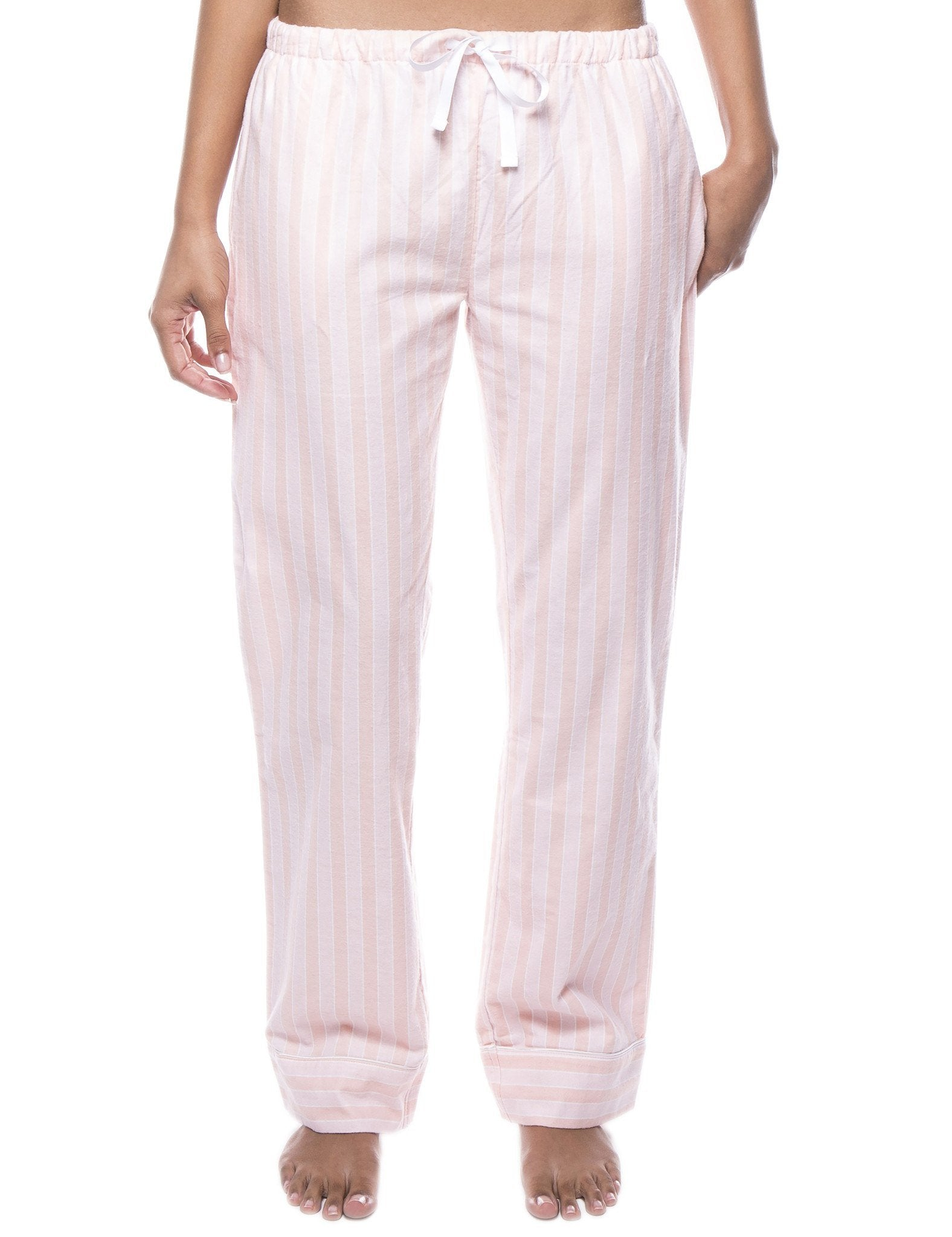 Womens 100% Cotton Flannel Lounge Pants - Stripes Pink