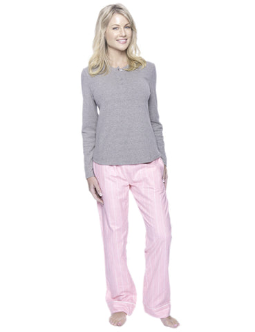 Womens Premium 100% Cotton Flannel Loungewear Set - Stripes Pink