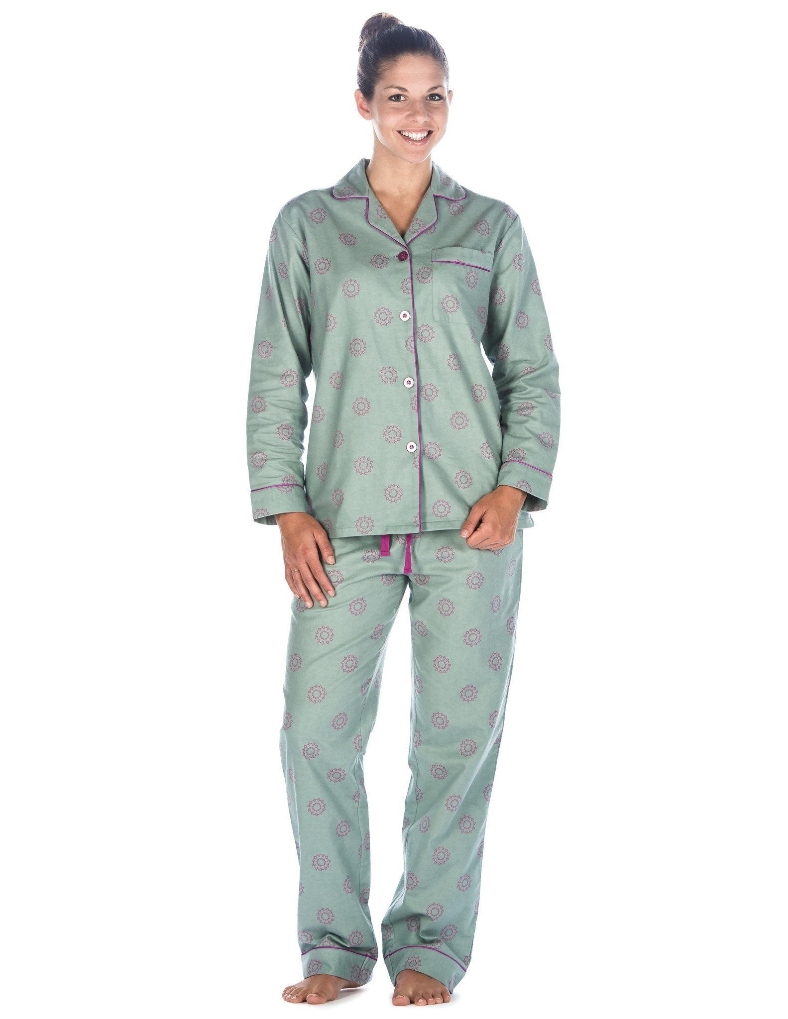 Women's Premium 100% Cotton Flannel Pajama Sleepwear Set (Relaxed Fit) - Ginko Circles - Green