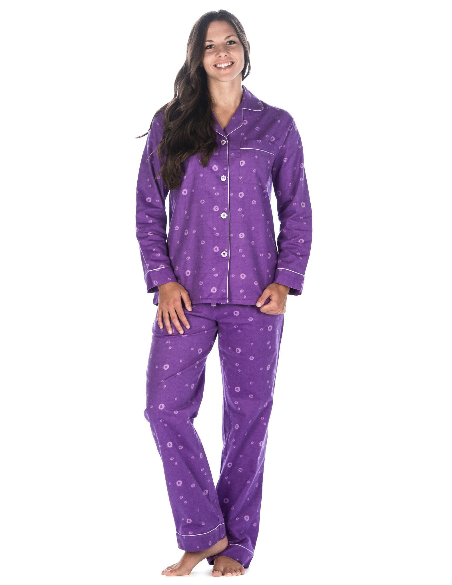Women's Premium 100% Cotton Flannel Pajama Sleepwear Set (Relaxed Fit) - Swirl - Lavender