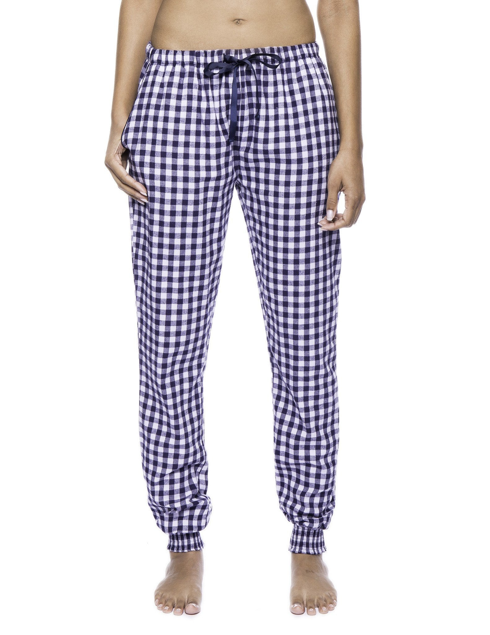 Women's Premium Flannel Jogger Lounge Pants - Gingham Blue/Heather