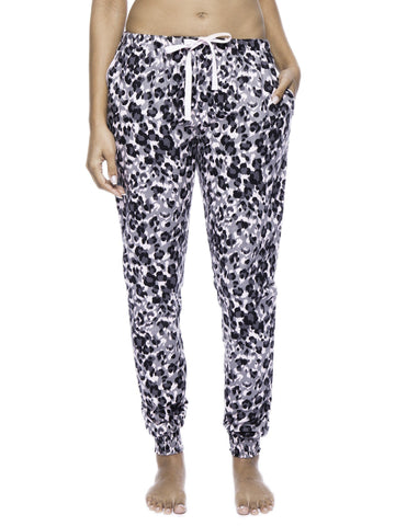 Women's Premium Flannel Jogger Lounge Pants - Leopard Pink/Grey