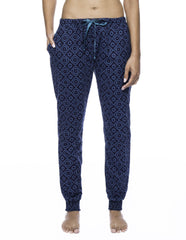 Women's Premium Flannel Jogger Lounge Pants - Moroccan Navy/Teal