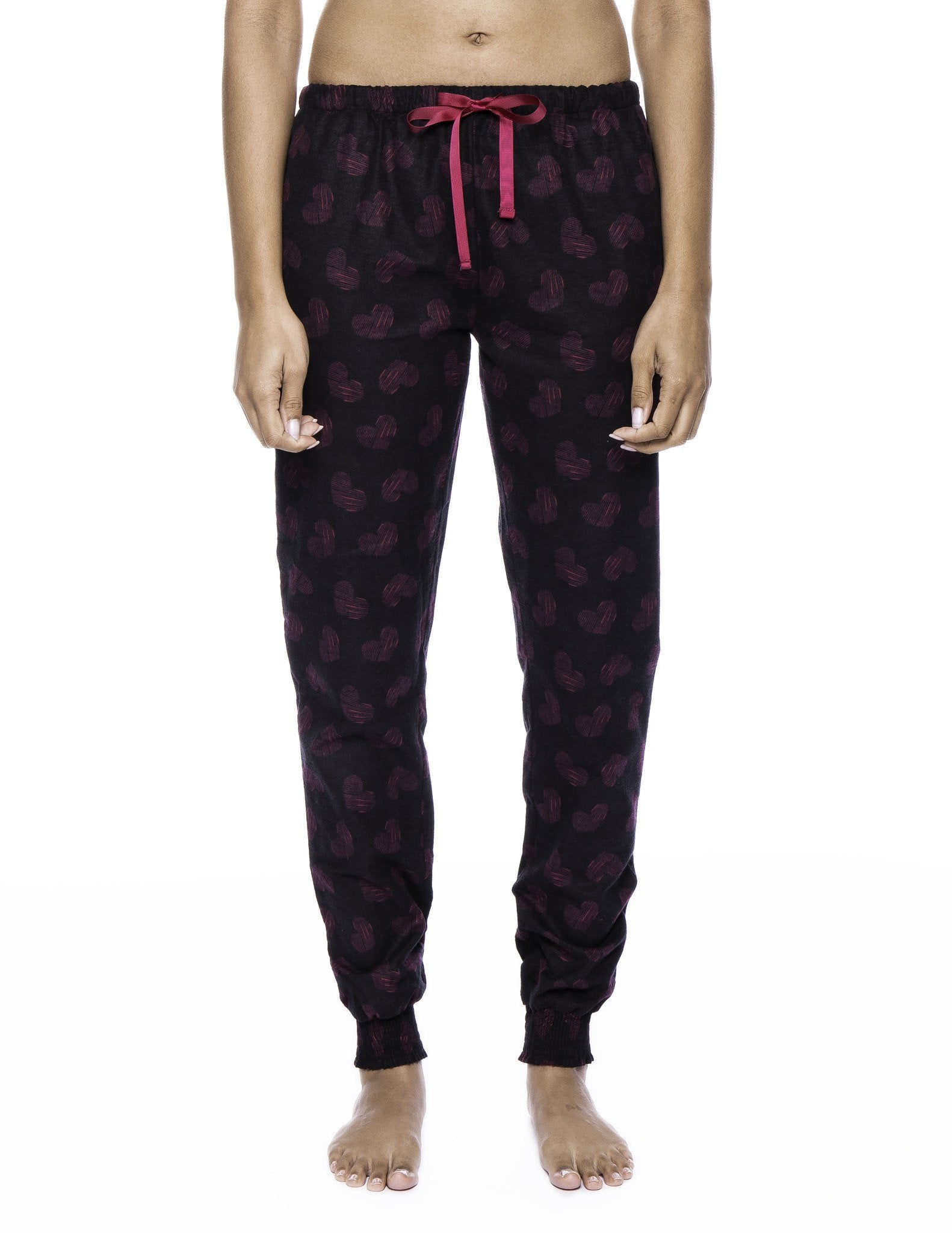 Women's Premium Flannel Jogger Lounge Pants - Hearts Black/Red