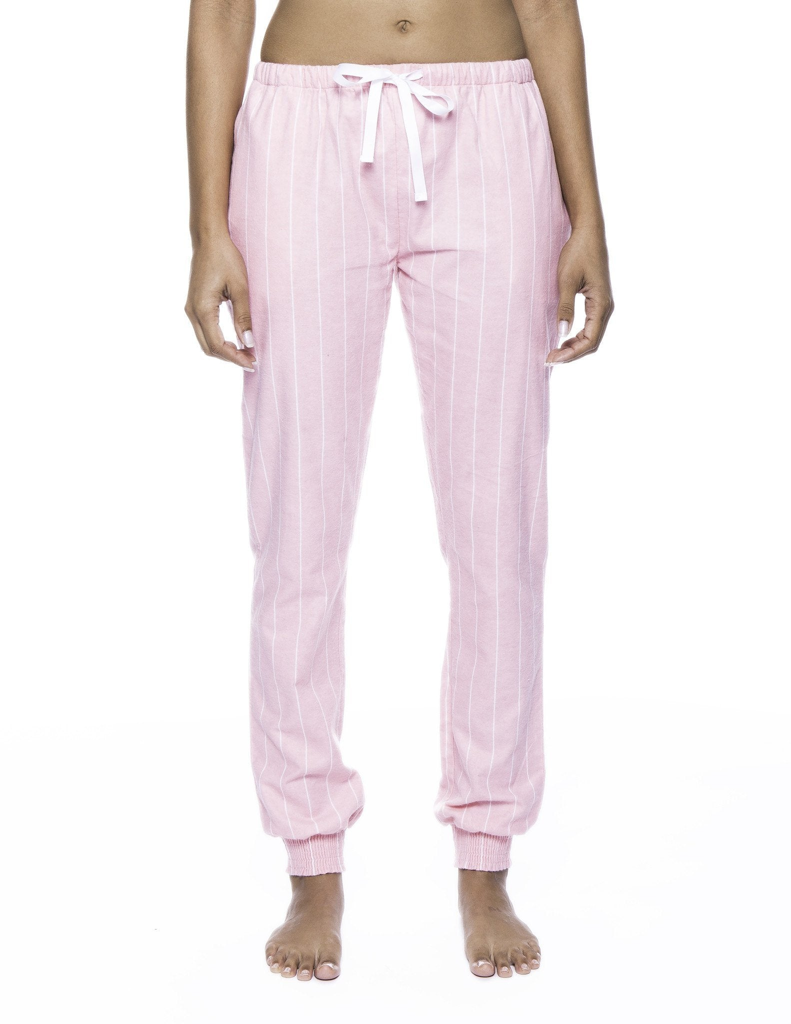 Women's Premium Flannel Jogger Lounge Pants - Stripes Pink
