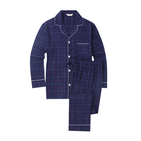 Flannel People Mens 100% Cotton Flannel Pajama Set with Pant Pockets & Drawstring - Checks Navy-Red