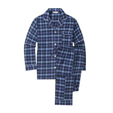 Flannel People Mens 100% Cotton Flannel Pajama Set with Pant Pockets & Drawstring - Denim Plaid
