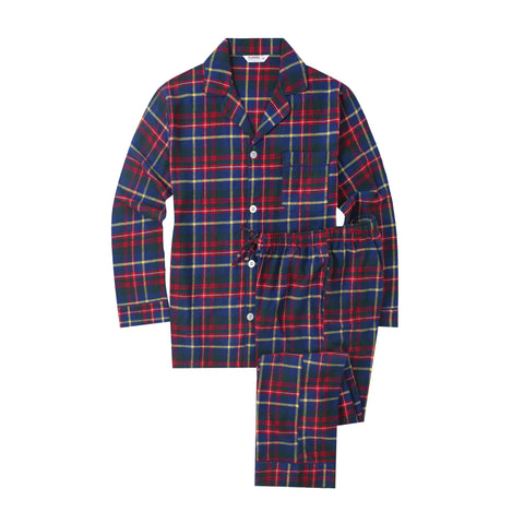 Flannel People Mens 100% Cotton Flannel Pajama Set with Pant Pockets & Drawstring - Plaid Blue-Green-Red