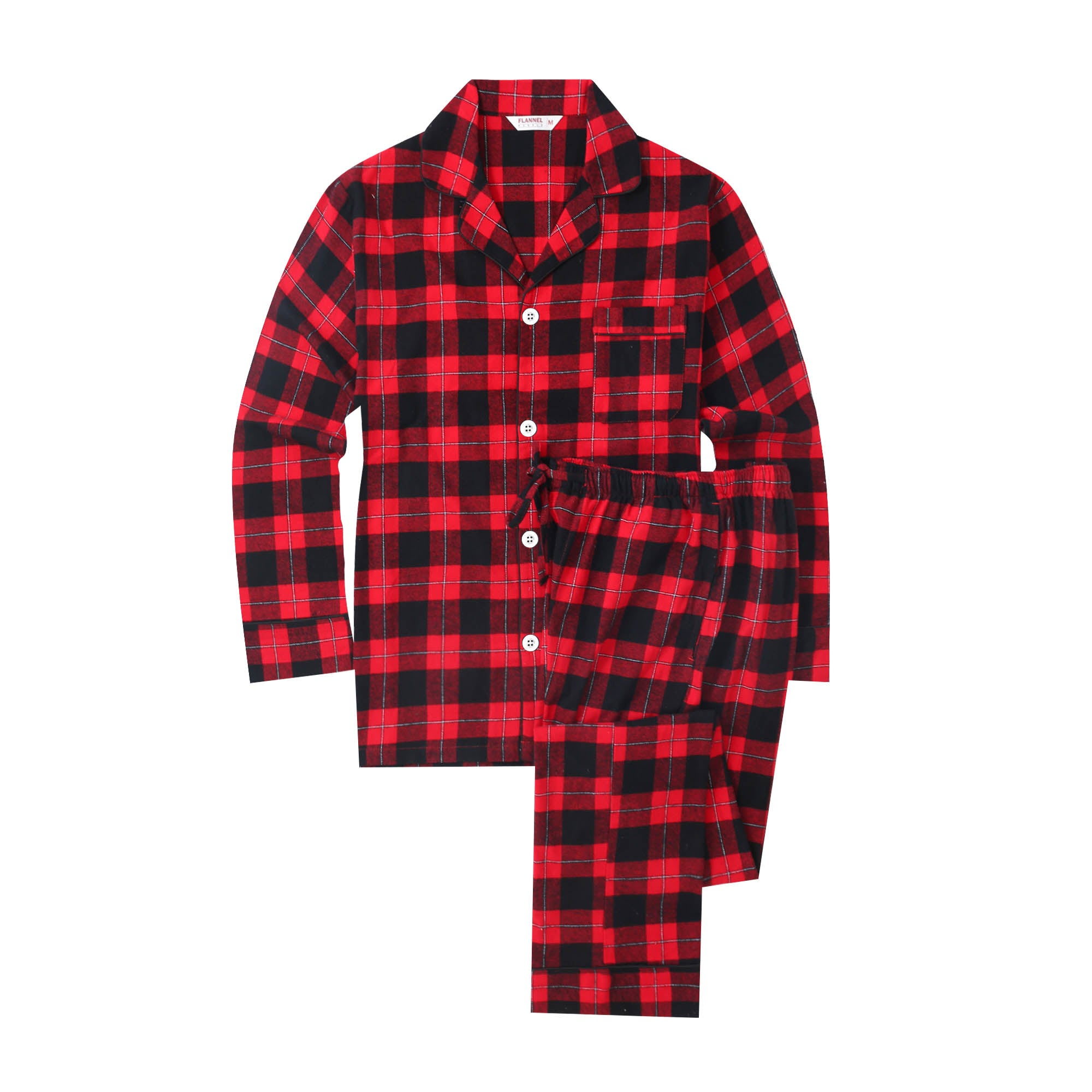 Flannel People Mens 100% Cotton Flannel Pajama Set with Pant Pockets & Drawstring - Plaid Red-Black