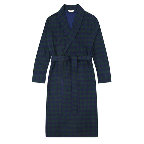 Flannel People Men's Flannel Robe - Gingham Navy-Green