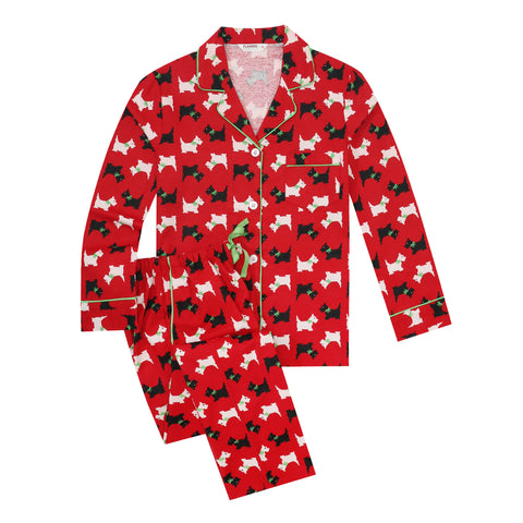 Flannel People Women Pajamas Set - 100% Cotton Flannel Pajamas Women Warm PJs Set - Scottie Dog - Red
