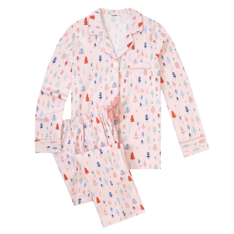 Flannel People Women Pajamas Set - 100% Cotton Flannel Pajamas Women Warm PJs Set - Winter Skis - Pink