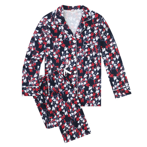 Flannel People Women Pajamas Set - 100% Cotton Flannel Pajamas Women Warm PJs Set - Magnolia - Navy-Red