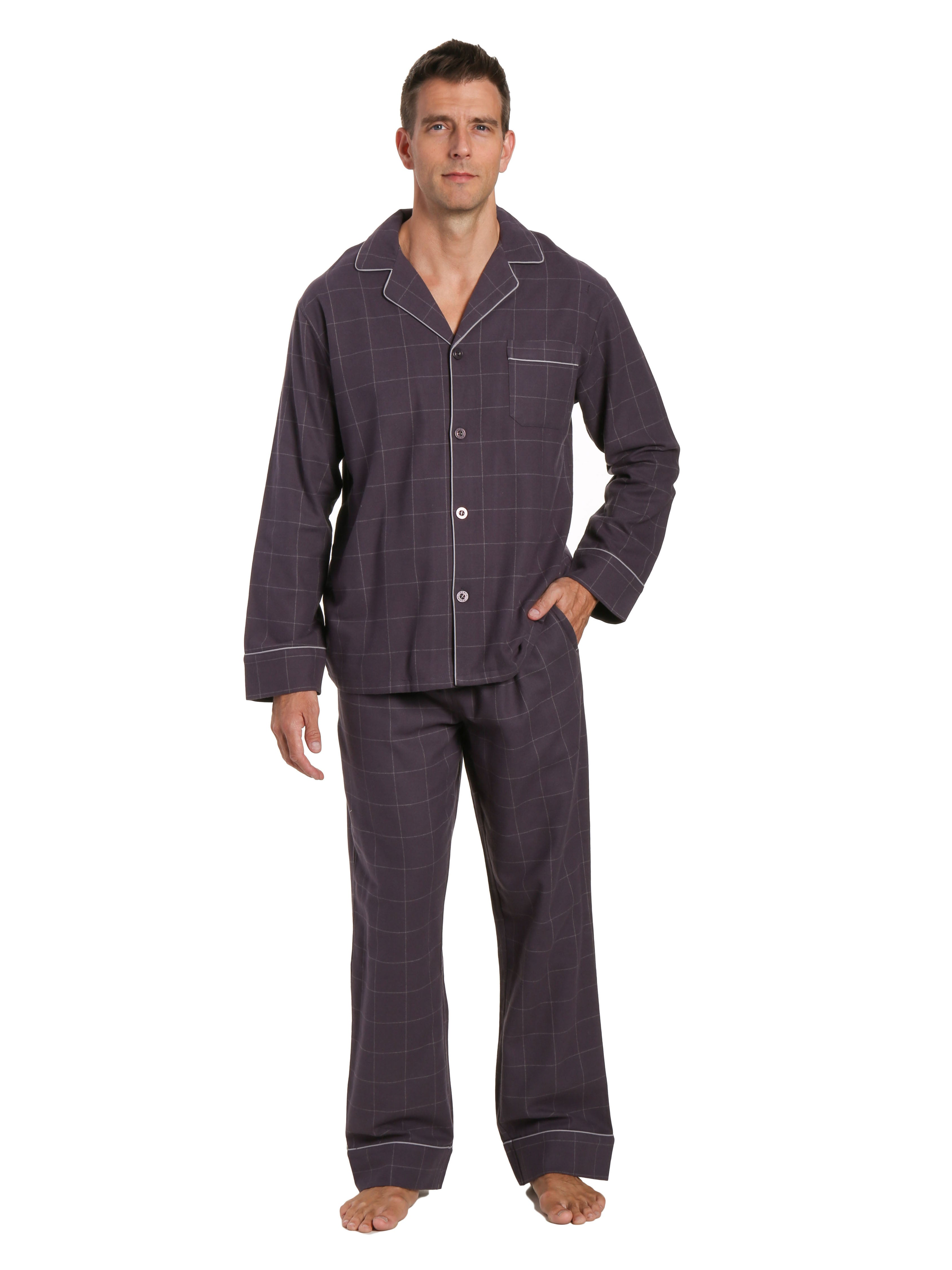 Mens 100% Cotton Flannel Pajama Set - Windowpane Checks - Iron
