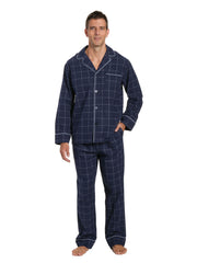 Mens 100% Cotton Flannel Pajama Set - Windowpane Checks - Navy