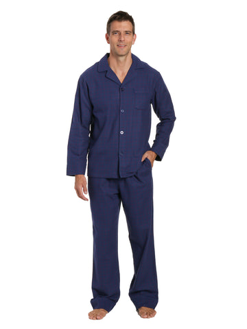 Mens 100% Cotton Flannel Pajama Set - Checks - Dark Blue