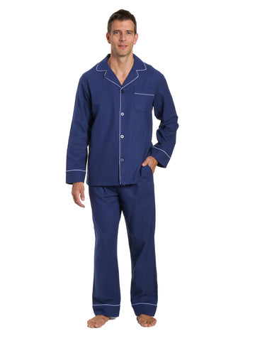 Mens 100% Cotton Flannel Pajama Set - Navy