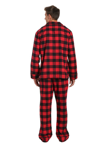 Men's Flannel Pajama Set - Buffalo Plaid Red-Black