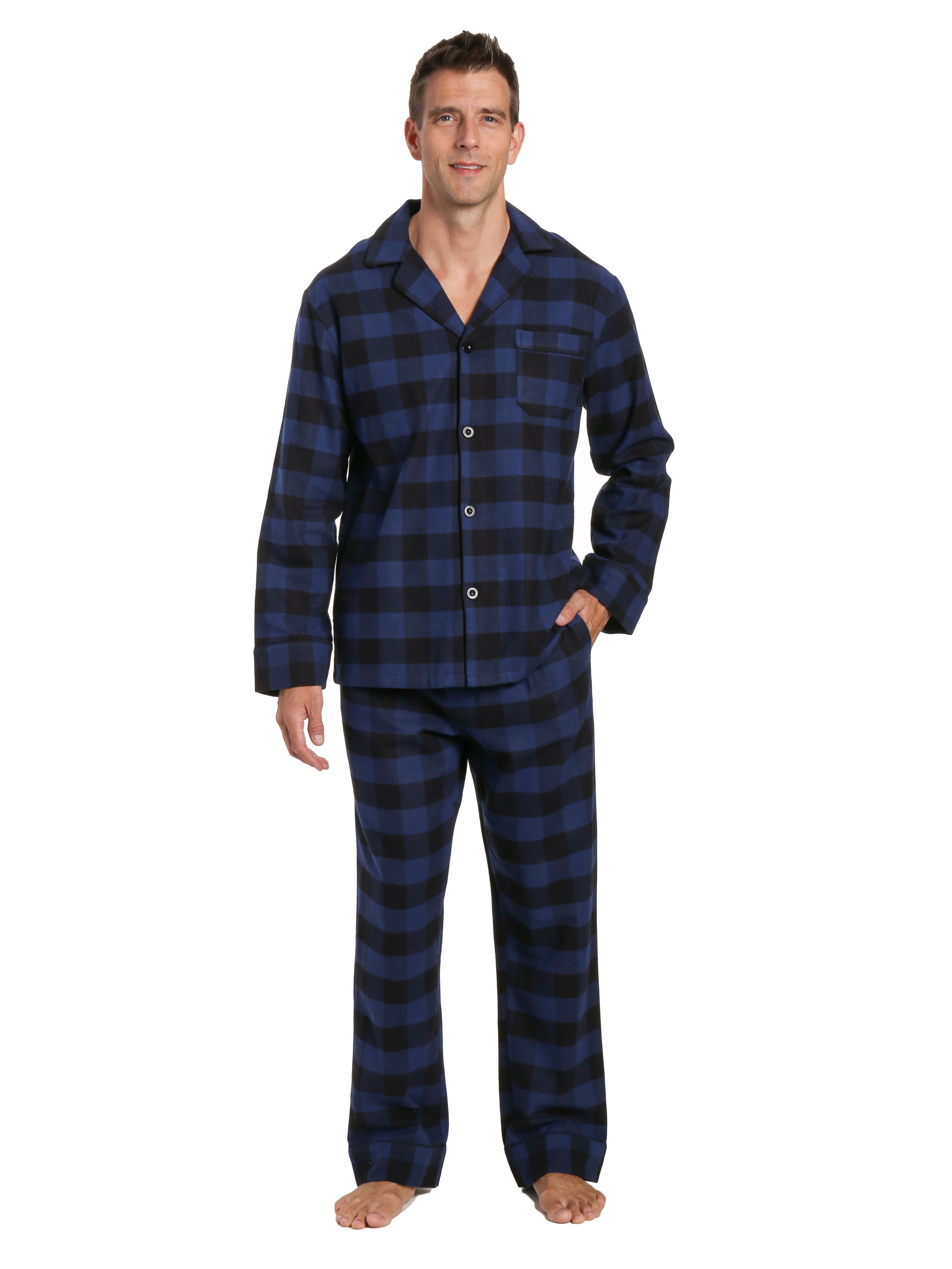 Mens 100% Cotton Flannel Pajama Set - Gingham Checks - Black-Blue