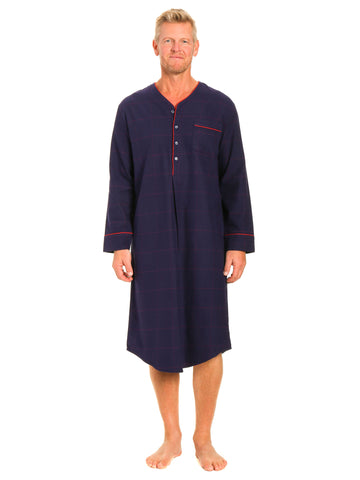 Mens 100% Cotton Flannel Nightshirt - Windowpane Checks Blue/Red