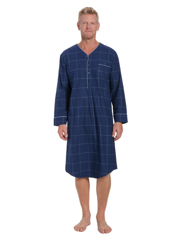 Mens 100% Cotton Flannel Nightshirt - Windowpane Checks Dark Blue