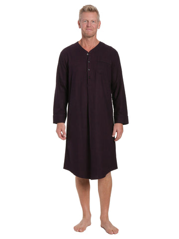 Mens 100% Cotton Flannel Nightshirt - Herringbone Fig/Black