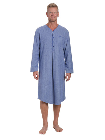 Mens 100% Cotton Flannel Nightshirt - Herringbone Blue