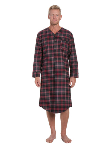 Mens 100% Cotton Flannel Nightshirt - Burgundy/Grey