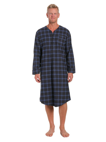 Mens 100% Cotton Flannel Nightshirt - Plaid Navy/Black