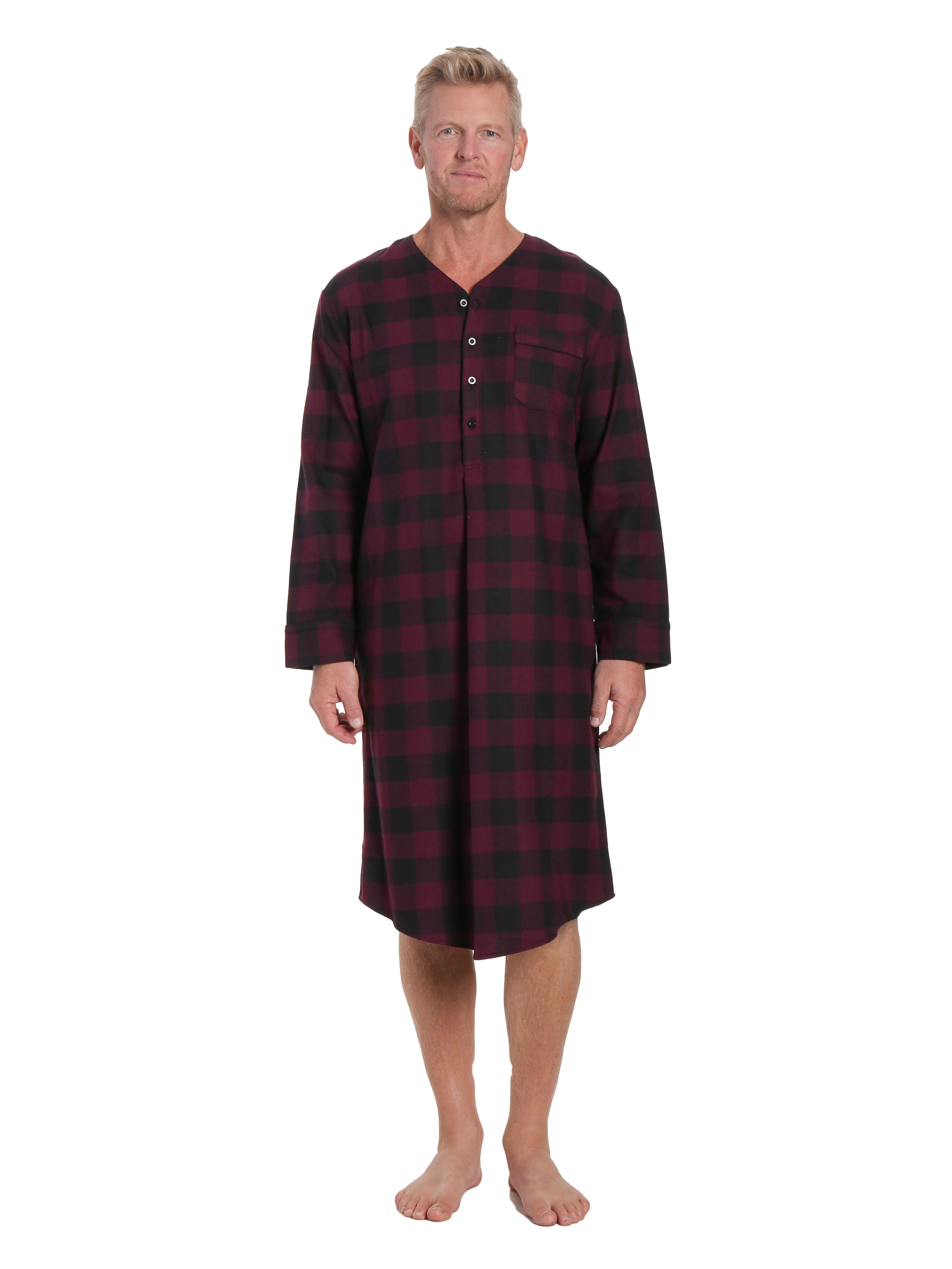 Mens 100% Cotton Flannel Nightshirt - Gingham Fig/Black