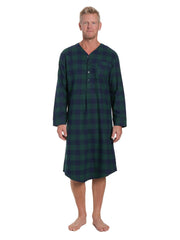 Mens 100% Cotton Flannel Nightshirt - Gingham Green/Navy